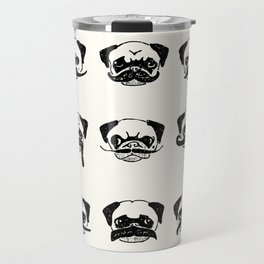 Moustaches of The Pug Travel Mug