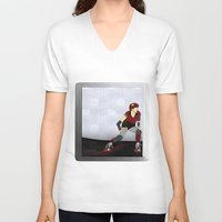 roller derby V-neck T-shirts featuring Roller Derby by Aquamarine Studio