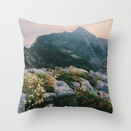 Mountain flowers at sunrise Throw Pillow