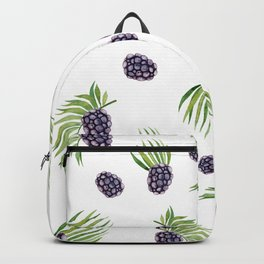 Hand painted black green watercolor fruity blackberries Backpack