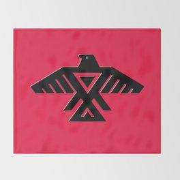 Thunderbird flag - Black on Red variation Throw Blanket