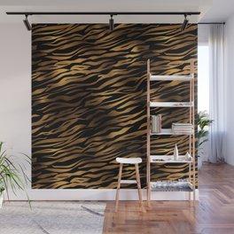 Gold and black metal tiger skin Wall Mural