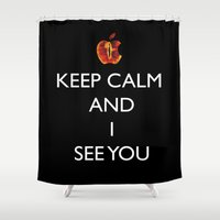 keep calm Shower Curtains featuring KEEP CALM  by Caio Trindade