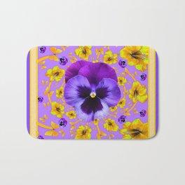 PANSIES YELLOW BUTTERFLIES & FLOWERS GARDEN Bath Mat