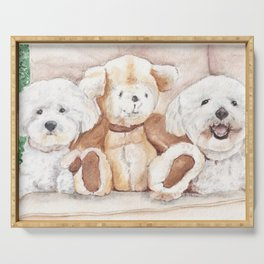 Two Bichons and A Friend Serving Tray