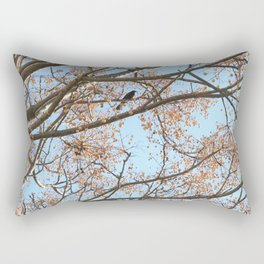 Rowan tree branches with berries and bird Rectangular Pillow