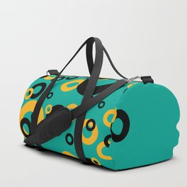 Vintage Retro Design with Rings turquoise Duffle Bag