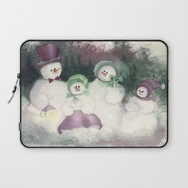 """Snow Family goes out for """"flake"""" fry dinner Laptop Sleeve"""