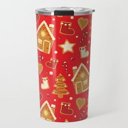 Christmas gingerbread house pattern red Travel Mug