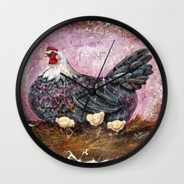 Blue Hen With Chicks Transparent Wall Clock