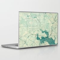 baltimore Laptop & iPad Skins featuring Baltimore Map Blue Vintage by City Art Posters