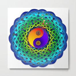 Yin Yang Celtic Mandala Metal Print