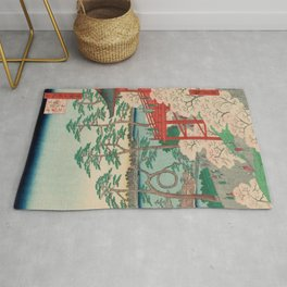 Spring Blossoms and Pond Ukiyo-e Japanese Art Rug