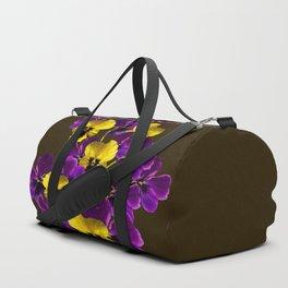 Purple And Yellow Flowers On A Dark Background #decor #buyart #society6 Duffle Bag