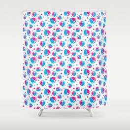 Pattern with Baby Feet  and Hearts in pink and blue color Shower Curtain