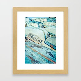 Brightly colored fishing boats - vintage photography Framed Art Print