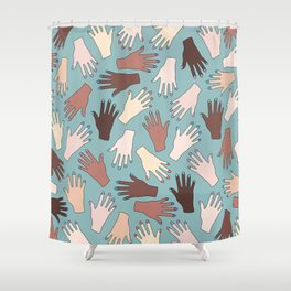 Nail Expert Studio - Colorful Manicured Hands Pattern Shower Curtain