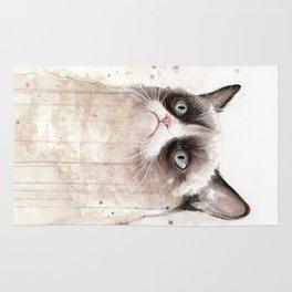 Grumpy Watercolor Cat Geek Meme Whimsical Animals Rug