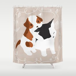 Puppy Cat Relationship Shower Curtain