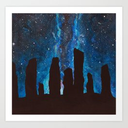 Outlander Craigh Na Dun Standing Stones Watercolor Painting with milky way galaxy Art Print