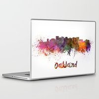 oakland Laptop & iPad Skins featuring Oakland skyline in watercolor by Paulrommer