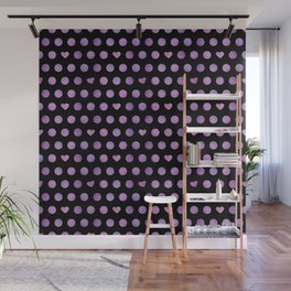 pink purple volleyballs & hearts pattern Wall Mural