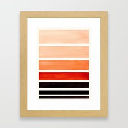 Burnt Sienna Minimalist Mid Century Modern Color Fields Ombre Watercolor Staggered Squares Framed Art Print
