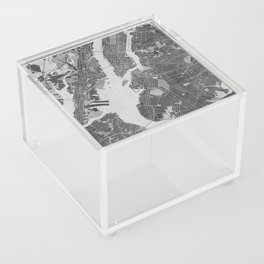 Vintage map of New York City in gray Acrylic Box