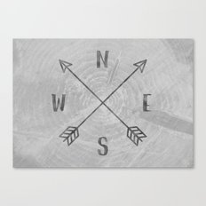 Map Compass - Forest Trees North East West South Compass Black and White Canvas Print