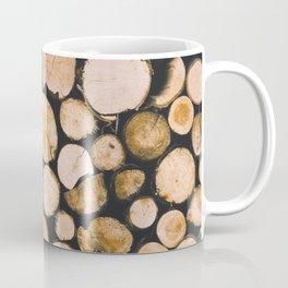 Stacked Wooden Lumber Logs Outdoors Coffee Mug