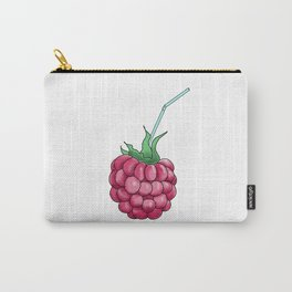 red raspberries with a cocktail straw . illustration Carry-All Pouch