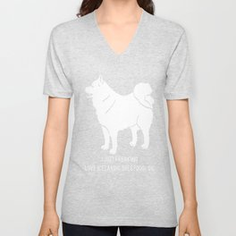 Icelandic-Sheepdog-tshirt,-just-freaking-love-my-Icelandic-Sheepdog Unisex V-Neck