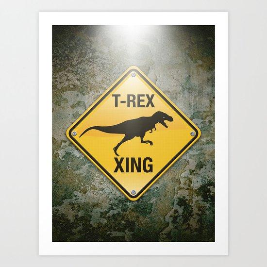 T-Rex Crossing Art Print