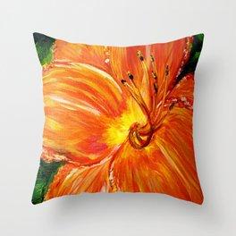 Orange with Yellow Daylily Throw Pillow