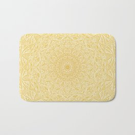 Most Detailed Mandala! Yellow Golden Color Intricate Detail Ethnic Mandalas Zentangle Maze Pattern Bath Mat