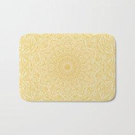Most Detailed Mandala! Yellow Golden Color Intricate Detail Ethnic Mandalas Zentangle Maze Pattern Bath Mat