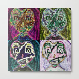 Zombie Girl Pop Art Inspired Quad  Metal Print