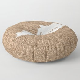 Kentucky is Home - White on Burlap Floor Pillow