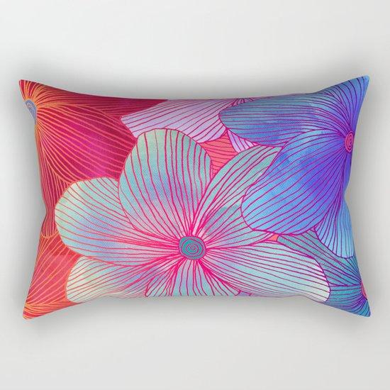 Between the Lines 2 - tropical flowers in purple, pink, blue & orange Rectangular Pillow