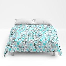 Blue & Gray Marble Geometric Hexagon Pattern Comforters