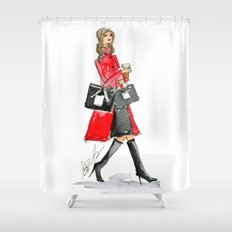 Walking Out of 5th Avenue Fashion Illustation by Elaine Biss Shower Curtain