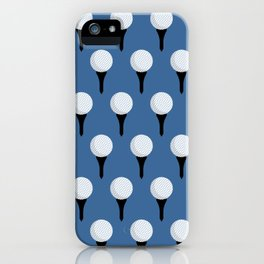 Golf Ball & Tee Pattern (Blue) iPhone Case