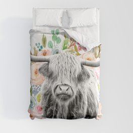 Cutest Highland Cow With Flowers Comforters