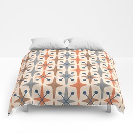 Mid Century Modern Abstract Star Pattern 941 Orange Brown Gray and Blue Comforters