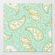 Pretty Paisley - Aqua/Green Canvas Print