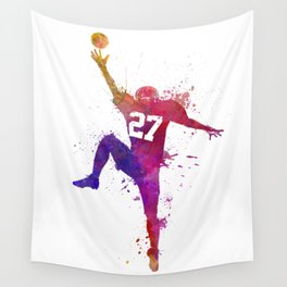 american football player man catching receiving silhouette Wall Tapestry
