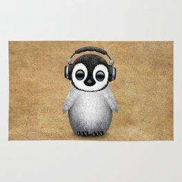 Cute Baby Penguin Dj Wearing Headphones Rug