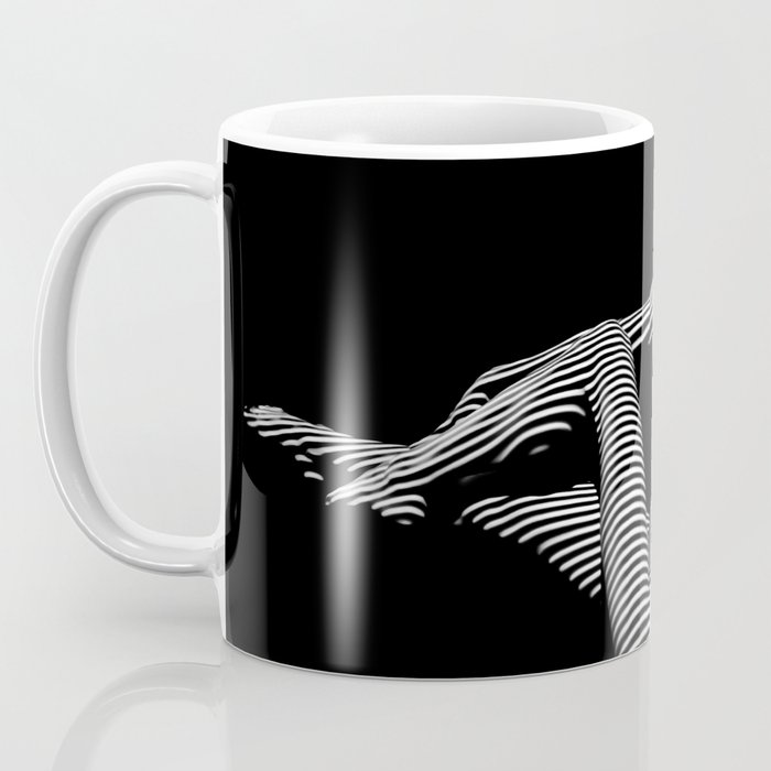 0043-DJA Zebra Stretching Nude Woman Yoga Black White Abstract Curves Expressive Line Slim Fit Girl Coffee Mug
