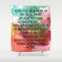 kerouac Shower Curtains featuring Kerouac Watercolour: by NomadicArt