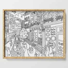 Bunnies in London Carnaby Street - Line Art Serving Tray